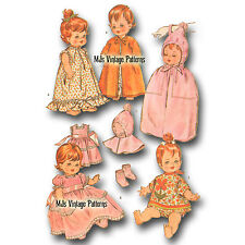 """Vtg 60s Baby Doll Clothes Pattern~ 14"""" 15"""" Pebbles Dy Dee Thumbelina Tiny Chatty"""
