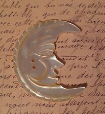 A Vintage Carved Mother of Pearl MOP AWESOME Moon Button Man in the Moon