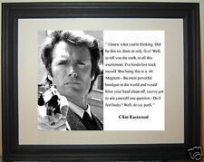 "Clint Eastwood Dirty Harry "" feel lucky"" Quote Framed Photo Picture"