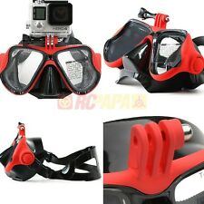 Snorkeling Half Face Mask Goggles Water Diving Scuba Snorkel w/ GoPro Mount Red