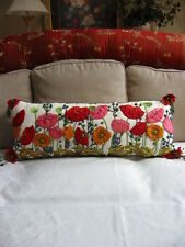 "Mackenzie Childs Upscale POPPY FIELD Hand Stitched Lumbar Pillow 15""x36"" NEW"