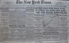 AMELIA EARHART STULTZ FLIERS SOUTHERN CROSS LONGEST SEA FLIGHT 6-1928 Junel 5