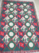 Golf Theme Afghan Throw Red Blue Green Golfers Balls Flags w Hole Number 43x66