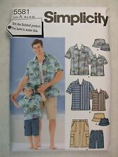 Boys Mens Shorts Shirt Hat sz Sm - Lg & Sm - XLg sewing pattern Simplicity 5581