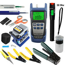 Optical Fiber Power Meter 30Mw Visual FC-6C Cleaver One Click Cleaner Strippers