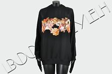 GIVENCHY 3150$ New Silk Black Sheer Panel Floral Print Sweatshirt sz 34 36 38