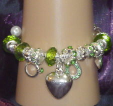 New 925 Sterling Silver Filled and Emerald Crystal Fashion Charm Bracelet