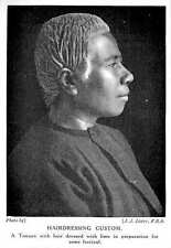 1913 Hairdressing Custom Of A Native Tongan, Hair Dressed With Lime