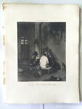 GRAVURE HELIOGRAVURE CHAUVET GEORGES PETIT 1904 DECAMPS BUCHERONS PRENANT REPAS