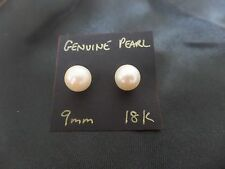 Genuine 9mm Saltwater Pearl Stud Earrings 18K gold - with jewellery pouch