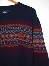 Fred Perry Lambs Wool Sweater, Navy Blue, Nordic Design + Leather Logo Patch XL