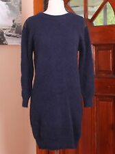 "Dark Blue ""Knit"" Brand Crew Neck 70% Angora Sweater Dress XS NWT msrp $420.00"