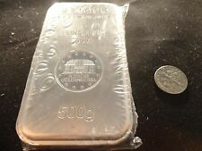 SILVER BULLION BAR- 500 GRAM -.999 SILVER-GEIGER SECURITY LINE-STACK SILVER