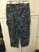 US NAVY DIGITAL CAMO BLUE WORK Large Regular Pants With Belt And Buckle