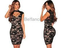 NEW BLACK NUDE FLORAL LACE ILLUSION KEYHOLE PEEP HOLE BODYCON DRESS 8 10 12 14