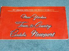 1977 CHRYSLER OWNER'S MANUAL / NICE ORIGINAL GUIDE BOOK