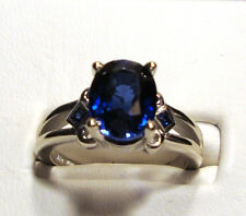 NEW Large BLUE KASMIR SAPPHIRE Gold Ring 3.88ct 14k White Gold Size 7
