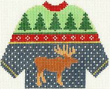 Silver Needle MOOSE KNITTED SWEATER handpainted HP Needlepoint Canvas Ornament