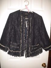 Lane Bryant navy with white tweedy lined jacket 3/4 sleeves with pockets NWT 14