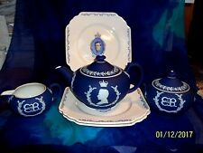 1937 WEDGWOOD CORONATION KING EDWARD VIII TEAPOT , SUGAR BOWL ,CREAMER & PLATES