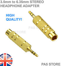 "2x Gold 3.5mm Stereo Male Jack Plugs to 6.35mm 1/4"" Female Adapter - Headphone 2"
