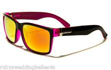 MENS BIOHAZARD TWO-TONE FRAME SUNGLASSES w COLOUR MIRROR LENS - NEON PINK