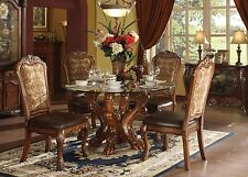 NEW 5PC JULIANO TRADITIONAL ROUND GLASS CHERRY OAK FINISH WOOD DINING TABLE SET