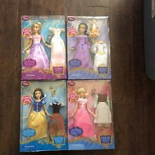 New Disney Store Singing Doll Lot Rapunzel, Snow White, Jasmine & Cinderella 12""