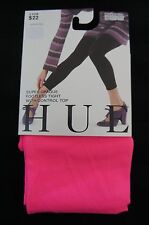 Hue Super Opaque Footless Tight Control Top Sz 2 Neon Pink Nylon Tights DD0113