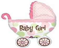 """IT'S A GIRL Carriage Pink Polka Dots BUGGY 31"""" Baby SHOWER Party Mylar Balloon"""