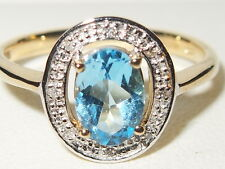 Beautiful 9ct yellow gold blue Topaz gem & Diamond Halo engagement ring