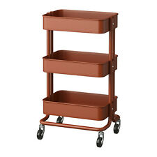 New IKEA Raskog Home Kitchen Bedroom Storage Steel Utility Cart, Brown Red