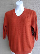 Kim Rogers Cotton Cable Knit V Neck 3/4 Sleeve Sweater 3X Rust  msrp $46.00