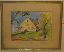 Vintage LILLIAN GROW 'Cape Ann Rockport HOME SPRING Landscape' PAINTING - Listed