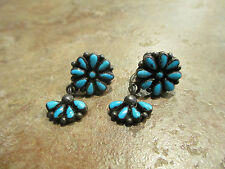 OLD Zuni Sterling Silver Screw Back  PETIT POINT Turquoise Cluster Earrings