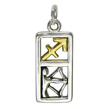 Sagittarius Zodiac Sign Pendant Charm Sterling Silver Gold Astrology Jewelry