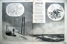 "1950 Punch R P Lister Poem Print E H SHEPARD - ""The Wind in the Telegraph Wires"""