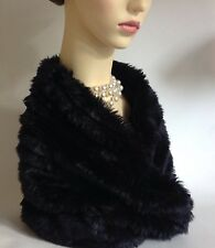 Shiny Black Fully Lined Faux Fur Neck Warmer Snood Scarf