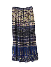 BOHEMIAN LADIES LONG SKIRT BLUE PRINTED BOHO GYPSY HIPPIE BOHO CHIC BROOM SKIRTS