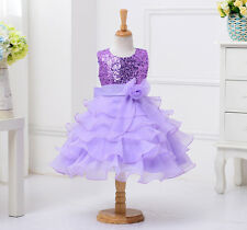 Sequined Flower Girls Tutu Ball Gown Sleeveless Dress  2-14