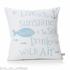 Nautical Seaside ThemeD Home Decor LIVE IN THE SUNSHINE SWIM IN SEA Cushion 40CM