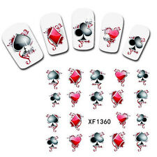 1Stk Poker Nagelsticker Tattoo Nail Water Decals Transfer Sticker XF1360