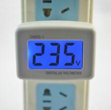 AC 110-300V Blau LCD Digital Voltage Volt Meter European Style Plug Stecker Hot2