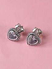 GENUINE PANDORA SILVER  HEART STUD EARRINGS 290568CZ with Black & Pink Pouch