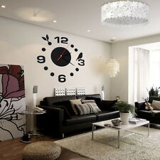 New DIY Large Wall Clock Home Office Room Decor 3D Mirror Surface Sticker FE