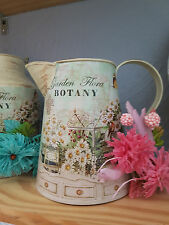 NEW SHABBY CHIC MINT GREEN BOTANY CHINTZ METAL VINTAGE JUG VASE PITCHER