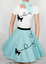 """3 PC Light Blue 50's Poodle Skirt outfit Girl Youth Sz 10/11/12/13 Waist 23""""-30"""""""