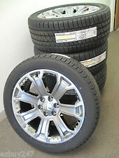 "22"" NEW GMC SIERRA CHEVY FACTORY STYLE GRAY CHROME WHEELS BRIDGESTONE TIRES 5660"