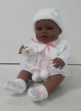 Muñeco bebe recien nacido negrita vestido blanco 42 cm vinilo. Envío Urgente!!