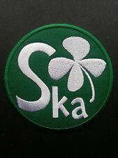 SKA TWO TONE REGGAE MUSIC SEW ON / IRON ON PATCH:- SKA IRISH FOUR LEAF CLOVER